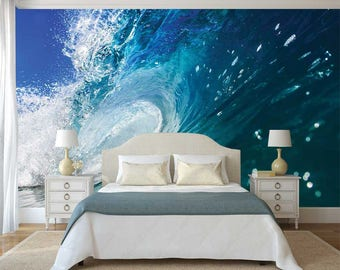 Wave Wallpaper, Wall Mural Wave, Waves Wall Decal, Self Adhesive Vinyl, Ocean Wallpaper