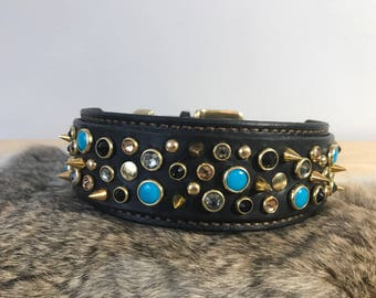 Leather Collar with Swarovski Gems and brass hardware Customization Available