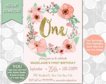 First Birthday Invitation, 1st Birthday Watercolor Flowers Invitation,Flower Birthday, Pink and Gold, Girls Birthday,INSTANT DOWNLOAD