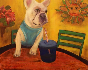 FERDINAND'S CAFE, Original 16 x 16 Oil Painting of french bulldog by Lesley Mills from Merlin's Garden Free Domestic Shipping