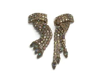 Rhinestone Chandelier Earrings, Aurora Borealis Rhinestone Earrings, Vintage Clip Earrings, Costume Jewelry