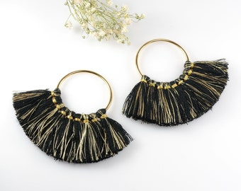 Cotton Tassels, Black and Gold Multi Tassels in Fan Shape, 2 1/4 x 3 Inch, Tassels for Jewelry Making, Tassel Earrings, Tassel Necklaces