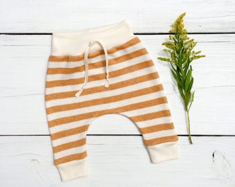 Mustard Stripe Baby Harem Pants, French Terry Baby Leggings, Mustard Yellow and Cream Stripe Baby Pants, Fall Baby Pants, Gender Neutral