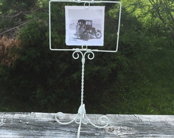 Display Stand Picture Frame Stand Photo Display Wire Frame White Shabby Chic