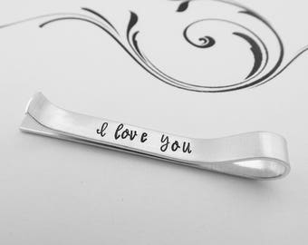 I love you Hidden Message Hand Stamped Tie Clip - Wedding Gift - Wedding Keepsake - Anniversary Gift - Gift for Groom - Boyfriend