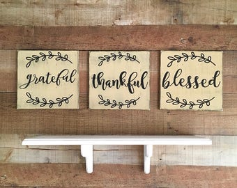 Grateful Thankful Blessed Sign,Thanksgiving Decor,Dining Room Artwork,Fireplace Decor,Farmhouse Sign,Southern Living Decor,Rustic Home Decor