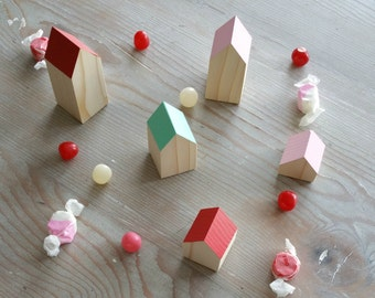 Happy Little Neighborhood - Wood Houses - Red + Pink + Turquoise - Waldorf - Village - Wooden Toy - Creative Play - Wood House