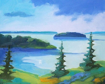 Maine Coastal Landscape - Paper - Canvas - Wood Block - Giclee Print