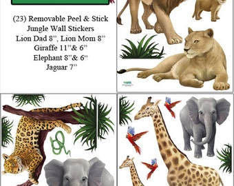 Kids Wall Decals, Jungle Animal Wall Stickers