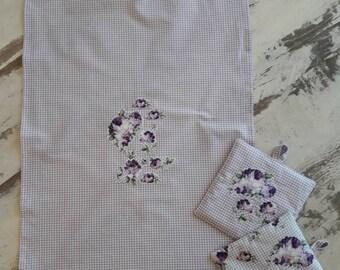 Dish towel + N. 2 pot Holders art. Isolde