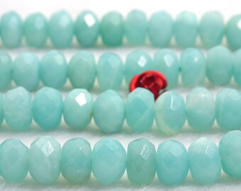 76 pcs of Natural Amazonite  faceted rondelle beads in 5x8mm (0278#)