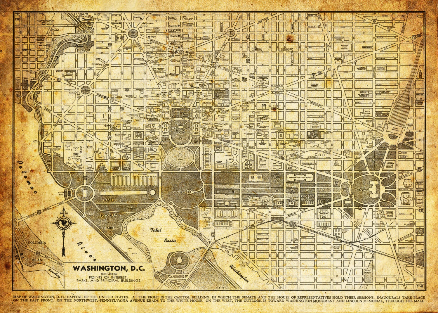 It is a photo of Légend Printable Street Map of Washington Dc