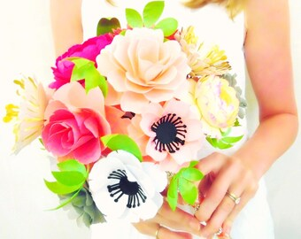 Paper Flower Bouquet, Alternative Paper Bridal Bouquet, Custom Bridal Wedding Bouquet, Templates & Tutorial- DIY Flower Patterns