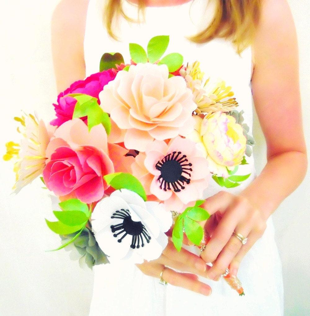 Paper flower bouquet alternative paper bridal bouquet custom zoom izmirmasajfo