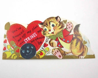 Vintage Unused Children's Valentine Greeting Card with Adorable Brown Tabby Cat Bowling with Anthropomorphic Bowling Ball and Pins Gold