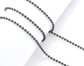 "20"" Stainless Steel Ball Chain in Black - 20"" Long x 2.4mm Wide - 1, 5, or 10 Finished Chains (single or bulk)"