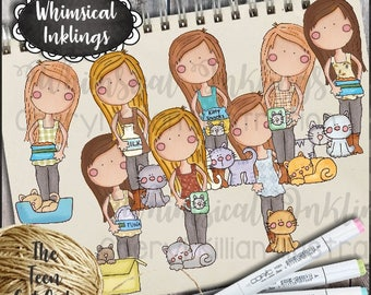 The Teen Cat Girls Clipart Collection- Immediate Download