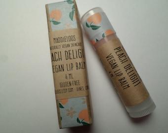 Vegan-Peach Delight Organic Vegan Lip Balm- lightly tinted and sparkly-Gluten Free-4ml