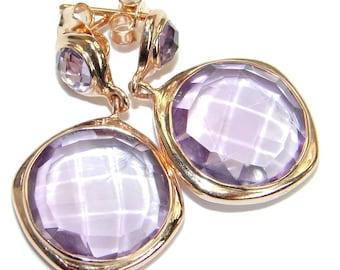 Pink Amethyst Sterling Silver Earrings - weight 8.70g - dim L - 1 3 8, W - 3 4, T - 3 16 inch - code 17-kwi-18-10