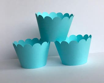 Solid Blue Green Aqua Teal Cupcake Wrappers, Party decorations cupcake holders, party supplies cupcake wraps, cupcake sleeves, paper goods
