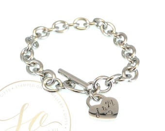 19cm Toggle Bracelet with Heart Charm - Personalised Hand Stamped - Stainless Steel Silver, Gold, Rose Gold
