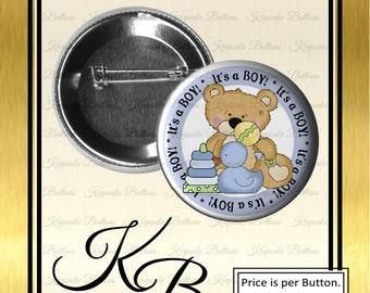 "2.25"" It's Boy Teddy Bear Button, It's A Boy Birth Announcement, Pin Back Button, Keepsake, Magnet, Pocket Mirror, Key Chain"