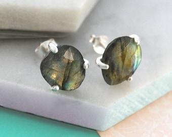 Labradorite Earrings, Silver Studs, Boho Earrings, Studs, Gemstone Earrings, Labradorite Studs, Gemstone Earrings, Gemstone Stud Earrings