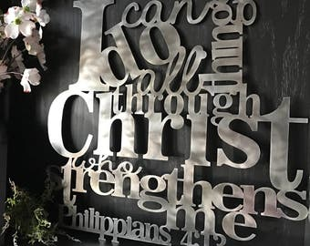 Philippians 4:13 I Can Do All Things Metal Art Verse Wall Decor