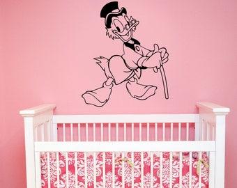 Uncle Scrooge McDuck Vinyl Sticker Disney Wall Decal Vintage Cartoon Art Duck Tales Decorations for Home Children's Room Nursery Decor smc4