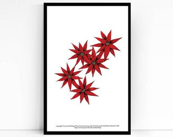 Instant Download printable art - Red aster flower print - 8x10 inch artwork - home decor - mothers day present - wall art print - digital