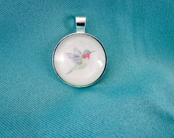 Watercolor Pendant, Hummingbird Painting, Handmade Pendant, Gift for Her, Spring Necklace