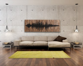 Sound Wave, wood wall art, large wall art, wood wall sculpture, reclaimed wood art, wood art