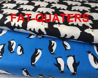 Fat Quaters Japanese polar - pair of cotton fabric coupon - Sevenberry - bears and penguins
