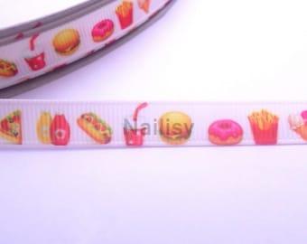 1 meter Ribbon 9mm grosgrain fast food hamburger, hotdog, ice, fries, pizza, drink