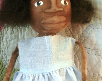 Handmade Folk Art Black Doll - Miss Purdy In Blue