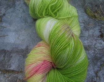 Handpainted sock yarn, fingering yarn, Superwash Sparkle Merino  Nylon, 100 grams-Spring