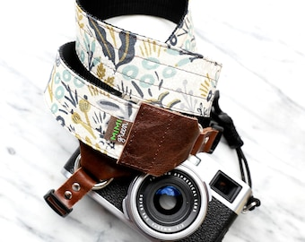 Rifle Paper Co. Camera Strap in NATURAL MENAGERIE w Gold Accents -  For DSLR Camera or Mirrorless Camera - Botanical Canvas Camera Strap