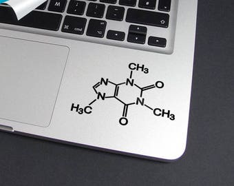 Caffeine Molecule,Decal Trackpad, Laptop Decal, Vinyl Decal, Mac Decal, Macbook Sticker, Chemical Molecule, Molecule, Chemistry, Chemical