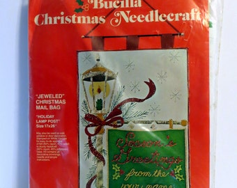 Vintage Bucilla Christmas Needlecraft - Jeweled Christmas Mail Bag - Holiday Lamp Post