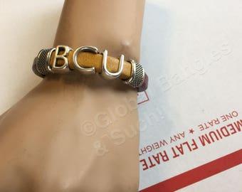 Bethune-Cookman University - Leather Bracelet - Burgundy and Gold - Wild Cats -  HBCU - Alumni - Grad - Student