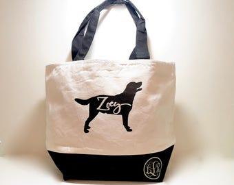 Dog tote bag, Pet tote bag, personalized tote bag, dog silhouette, pet silhouette, canvas tote bag, custom tote bag, monogram bag