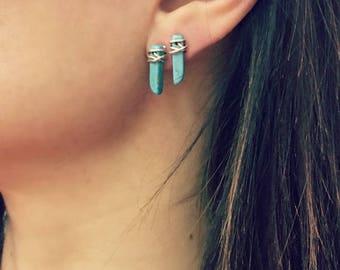 Minimalist turquoise wire wrapped stud earrings, silver boho earrings, howlite