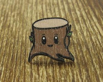 Stump Brooch Pin - Laser Wood