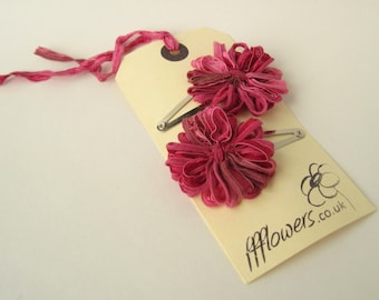 Flower Hair Clips in Raspberry Pink