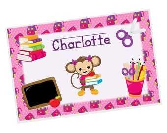 Monkey Personalized Placemat - Monkey School Girl Pink Stars Backpacks with Name, Customized Laminated Placemat