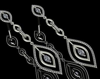 14K White Gold Earring with White Diamonds M-ER1011