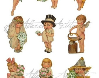 Printable Wedding Paper Dolls Wedded Bliss Printable Vintage Scraps Clip Art Shower Kewpie Cupid Digital Collage Sheet Instant Download