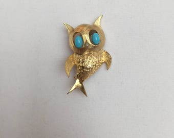 Vintage, Pell Signed, Owl Brooch. Gold Tone with Turquoise Colored Eyes.