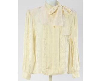 Vintage BLOOMINGDALE'S Cream 100% Silk Long Sleeve Blouse Size 12