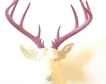 CREAM, DeeP RASPBeRRY, XL Faux Taxidermy Deer Head, Xl Deer Head, Stag Wall Mount, Deer Head, Cream Deer Head, Faux Animal Head, Faux Deer